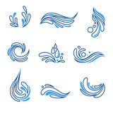 Water drop and splash eco icon vector set Stock Photography