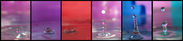 Water drop story. Several water drops combined in one picture Stock Images