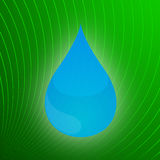 Water Drop on Stylized Leaf Detail. Vector Illustration of Droplet of Water Over Enlarged Stylized Leaf Detail Stock Photo