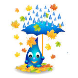 Water drop with umbrella isolated Royalty Free Stock Images