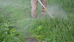 Water drop wet grass cut. Closeup of water rain drops rise from trimmer cut wet grass on rural road after rain stock video footage