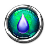 Water drop on World globe royalty free illustration