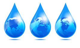 Water Drop World, Globe in a Water Droplet Stock Photo