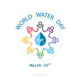 Water drop and world map with people icon vector logo design tem Royalty Free Stock Images