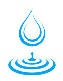 Water droplet icon splash. Blue water droplet icon and splash with dribble stock illustration