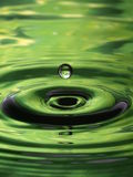Water Droplet Ripple Pattern green single drop Royalty Free Stock Photos