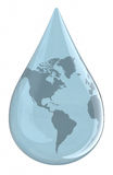 Water droplet with World Map Royalty Free Stock Photos