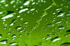 Water droplets. Water drop;ets on green glassy surface with limited depth of feild Royalty Free Stock Photo