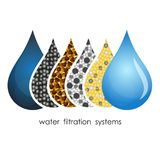 Water droplets filtration symbol. Water drops filtration symbol for business Stock Images