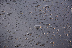 Water droplets. On a freshly waxed black car Stock Photos