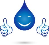 Water droplets with smile and hands, water and nature logo. Water droplets with smile and hands, colored, water and nature logo Stock Image