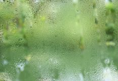Water droplets on transparent clear glass window focus on foreground with green background. Of trees and water in a pond Stock Photography