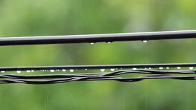 Water droplets under the electricity wire stock video