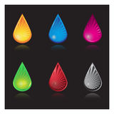 Water droplets various colors. Vector - Water droplets with various colors and reflections Royalty Free Stock Photos