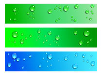 Water Droplets Web Banner Backgrounds. Water Droplets Blue and Green Background Stock Photo