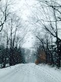 Water droplets. Winter scene with water droplets on window Stock Photo
