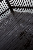 Water droplets on a wooden deck Royalty Free Stock Photos
