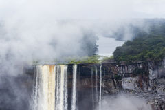 Water dropping over a cliff. At Kaieteur Falls, Guiana royalty free stock photo