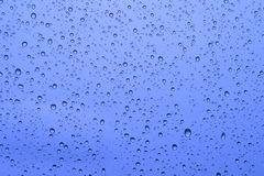 Water drops. On a blue background Stock Images