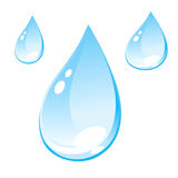 Water Drops. Drops of water. Vector illustration. Blue transparent drops Royalty Free Stock Image