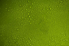 Water drops. Crystal clear water drops over green background stock photography
