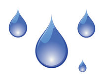 Water drops. Vector illustration of blue water drops on white background Royalty Free Stock Photo