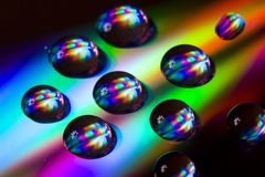 Water drops. On CD. Powerful colors, nice composition Stock Image