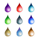 Water drops. Vector illustration of the beautiful decoration water drops set Stock Photo