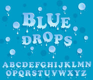 Water drops alphabet. Glossy letterhead design. Royalty Free Stock Photos