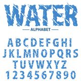 Water drops alphabet, Modern futuristic splash headline letters and numbers, abstract liquid font typography. Blue abc Realistic typescript character design vector illustration