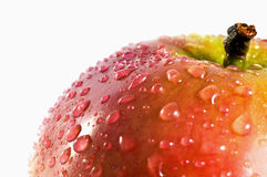 Water drops on apple Stock Images