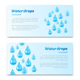 Water drops background. Banners, labels set mineral water, spring water, pure organic water. Vector illustration Stock Photography