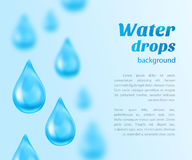 Water drops background with place for text. Vector illustration Stock Photography