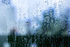 Water drops background. Rain drop on the window. Water drops blue on glass. Close - up, macro royalty free stock images