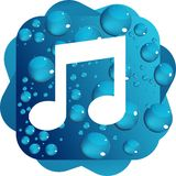 Water drops on blue background music icon Royalty Free Stock Photography