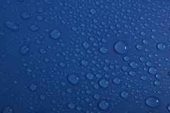 Water drops on blue background texture. Pure drops of ecology protection of water resources, the preservation of fresh water stock image