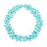 Water drops blue frame. Turquoise splash wreath. Isolated vector illustration on white background Royalty Free Stock Image