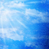 Water drops on blue sky background Royalty Free Stock Photography
