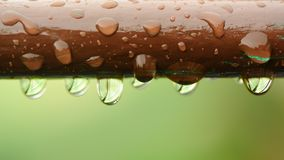 Water Drops on Brown Rail Close-Up (16:9 Aspect Ratio) Royalty Free Stock Images