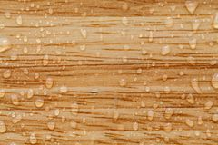 Water drops on a brown wooden surface. Selective focus Royalty Free Stock Photography
