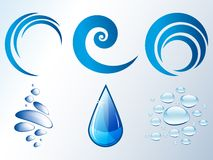 Water drops, bubbles and waves Royalty Free Stock Images