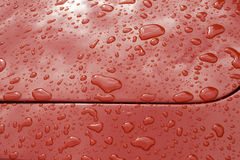 Water drops on car. Water drops on red car surface Royalty Free Stock Photo