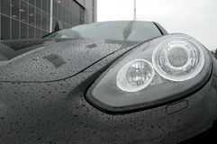 Water drops on car headlights after anti rain protection coating stock photos Royalty Free Stock Photo