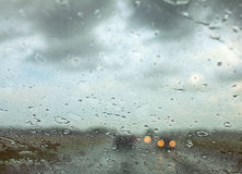 Water drops on a car window Royalty Free Stock Photo