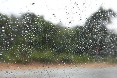 Water drops on a car window Stock Photos