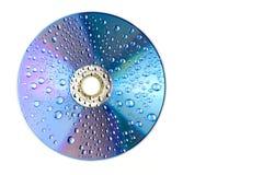 Water drops on CD dvd. Water drops on CD macro rainbow dvd Royalty Free Stock Image