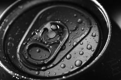 Water drops on top of closed aluminium can. Closed cold top of aluminium beverage can Royalty Free Stock Photography