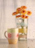 Water drops with coffee cub and flower (warm tone picture) Royalty Free Stock Photo