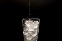 Water drops fall down in the glass at black background.  Royalty Free Stock Image