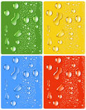 Water_drops_four_different_colors Stock Images